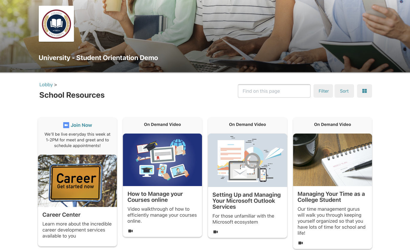 Picture of student resources page